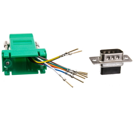 CableWholesale 31D1-1720GR Modular Adapter, Green, DB9 Male to RJ45 Jack