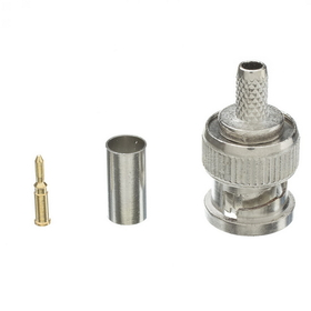 CableWholesale 31X1-05500 RG58 Solid Core BNC Male Crimp Connector, 3 Piece Set