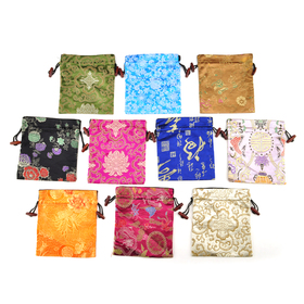 "Aspire Silk Brocade Jewelry Pouch Bags with Drawstring, Wedding Favor Bags, 5-1/2"" x 5-1/2"", Assorted Colors, Wholesale Lot, Graduation Gift, Price/20 Pcs"