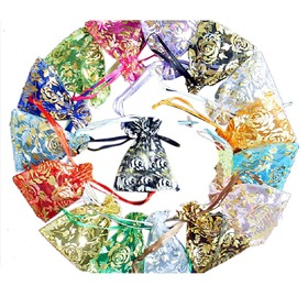 "Aspire Organza Drawstring Pouch with Golden Roses, Wedding Favor Bags, 3-1/2"" x 4-3/4"", Assorted Colors, Wholesale Lot, Graduation Gift, Price/500 Pcs"