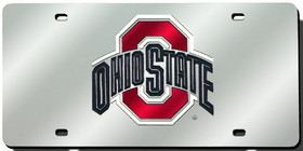Ohio State Buckeyes Laser Cut Silver License Plate