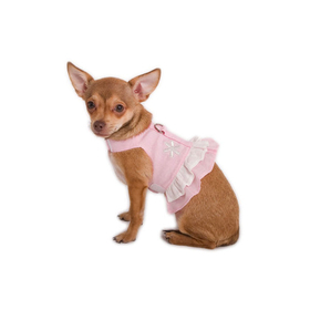 Doggles Harness Dress - Hemp Small Pink With Flower