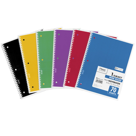 Mead Products MEA05510 Notebook Spiral Single Subject 70Ct 10 1/2 X 8, Price/EA