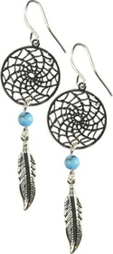 AzureGreen Dream Catcher Earring with Turquoise Beads