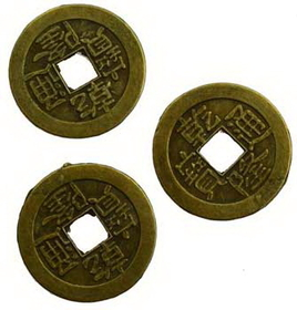AzureGreen I Ching Coin, bronze