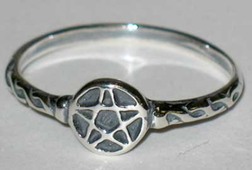 AzureGreen Tiny Pentagram Ring sz 7