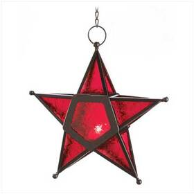 Furniture Creations 12288 Red Glass Star Lantern Hanging Candle Holder Christmas