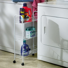 Household Essentials 05121 3-Tier Storage Cart-White