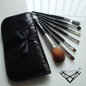 ALICE Makeup 7pc Cosmetic Brush Travel Set - Black