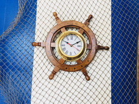 Handcrafted Model Ships Ship Wheel Clock 12""