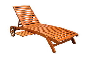 International Caravan TT-SL-008 Royal Tahiti Outdoor Wood Chaise Lounge with Wheels, Brown Stain