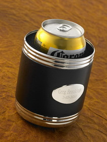 JDS Personalized Black Leather Can Koozie