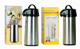 """Air"" Pot, Plastic Lever, 2.2 Liter, Stainless Steel With Stainless Steel Liner. Swivel Bottom., Price/EA"