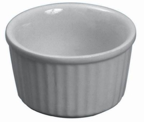 Butter Dish/Ramekin, 2-1/2 Oz, 2-3/4&quot; Dia. X 1-3/8&quot; Depth, White Ceramic., Price/DZ