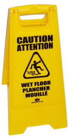 Johnson-Rose Floor Sign, Wet, Folding 2-Sided, Polpropylene. English And Spanish Both Sides, Price/EA
