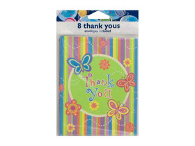 "Colorful butterfly stripe ""Thank You"" notes, set of 8, Price/package"
