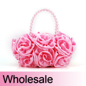Bouquet Rose Clutch, Satin Wedding Handbag - Wholesale