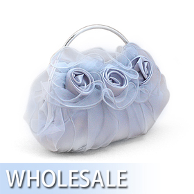 Organza Overlay Lovely Rose Evening Bag - Wholesale
