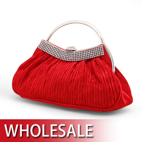 Half Round Handle Satin Evening Bag - Wholesale