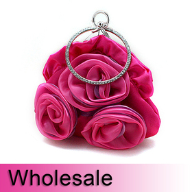 Rhinestone Circle Handle Rose Satin Purse Handbag - Wholesale