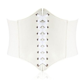 7-Inch Wide Corset Waist Belt - Large Size, Ivory