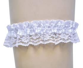 Morris Costumes BB-02WT Garter Lace White Single