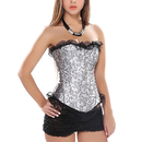 Muka Gray Brocade Fashion Corset with Black Lace, Gift Idea