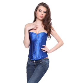 Muka Ladies Blue Satin Overbust Fashion Corset, Gift Idea
