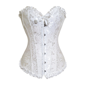 Muka White Flower Tapestry Brocade Fashion Corset With White Lace, Gift Idea