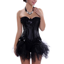 Muka Burlesque Black Fashion Corset And Petticoat, Black Swan costume, Gift Idea