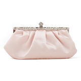 Champagne Pink Tone Evening Handbag, Satin Clutch, Gift Idea