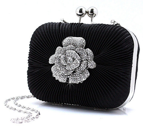 Pleated Satin Rhinestone Flower Cute Clutch - Black