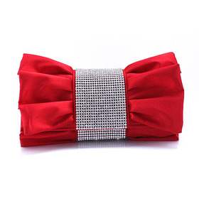 Crystal Decorated Bow Shape Satin Clutch - Red