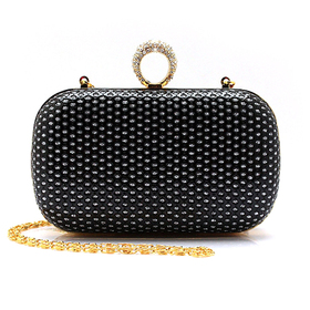 Rhinestone Ring Clutch, PU Embed with Sequin - Black