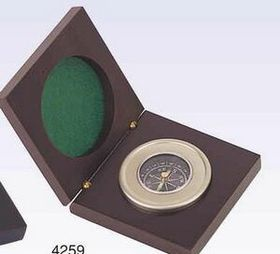 Chrome Compass In Wooden Box (Screened), Price/piece