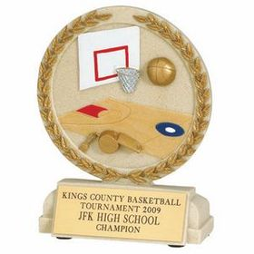 Basketball Stone Resin Trophy w/ Engraving Plate, Price/piece