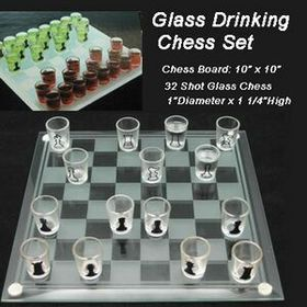 10&quot; Glass Drink Chess Set (Screen printed), Price/piece