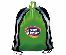 "AAkron Rule Non-Woven Reflective Drawstring Full Color Digital Backpack Withstripes, 16"" W X 19 1/2"" H, Price/piece"