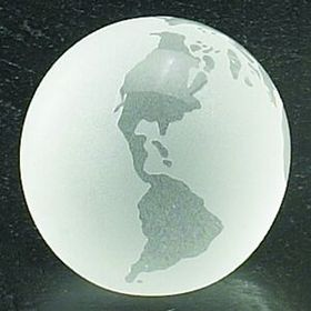 3&quot; Crystal Globe Paperweight with Flat Bottom (Laser Engraved), Price/piece