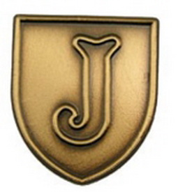 "Stock Alphabet Insert 11/16"" (Letter ""J"") Gold, Silver or Bronze, Price/piece"