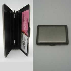 Brushed Gun Metal Card Holder w/ Compartments (Screen printed), Price/piece