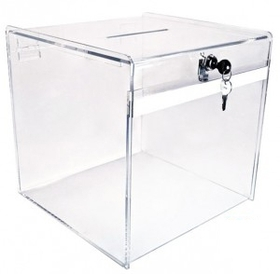 "Clear Medium Deluxe Ballot Box (8""), Price/piece"
