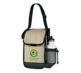 Banaka Insulated Lunch Bag W/ Bottle Holder, 600 D Polyester Pvc Backing, Price/piece