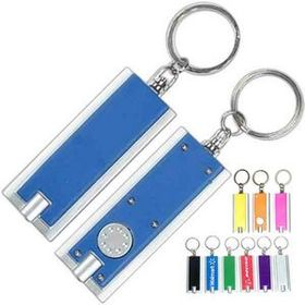 "Slim Rectangular Led Flash Light With Metallic Silver Trim Keychain, Pad Printed, 2 3/8"" W X 1 1/4"" H, Price/piece"