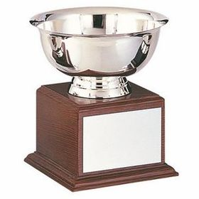 Stainless Steel Revere Bowl Trophy w/ Walnut Finish Base (10&quot;x10 1/2&quot;), Price/piece