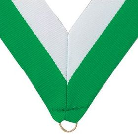 "Green/White Grosgrain Imported V Neck Ribbon - Medal Holder (32""x1 3/8""), Price/piece"