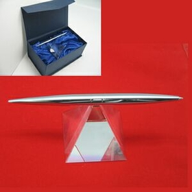 Pyramid Crystal Spinning Pen Set (Clear Base) - SCREENED, Price/piece