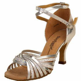 Stephanie Silver Leather / Glitter Dance Shoes - 12028-42