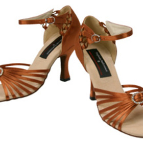 Stephanie Dark Tan Satin Dance Shoes - 92005-45