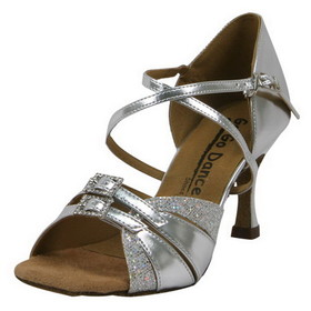 GoGo Dance Shoes: 2.5&quot; Silver Leather / Glitter dance shoes - GO9523
